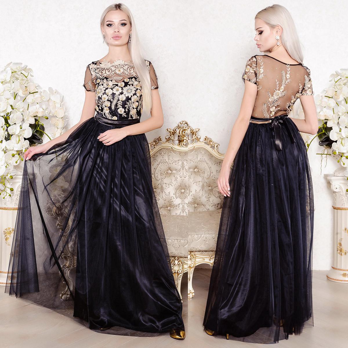 10372982bf2 Черное вечернее длинное пышное платье на выпускной