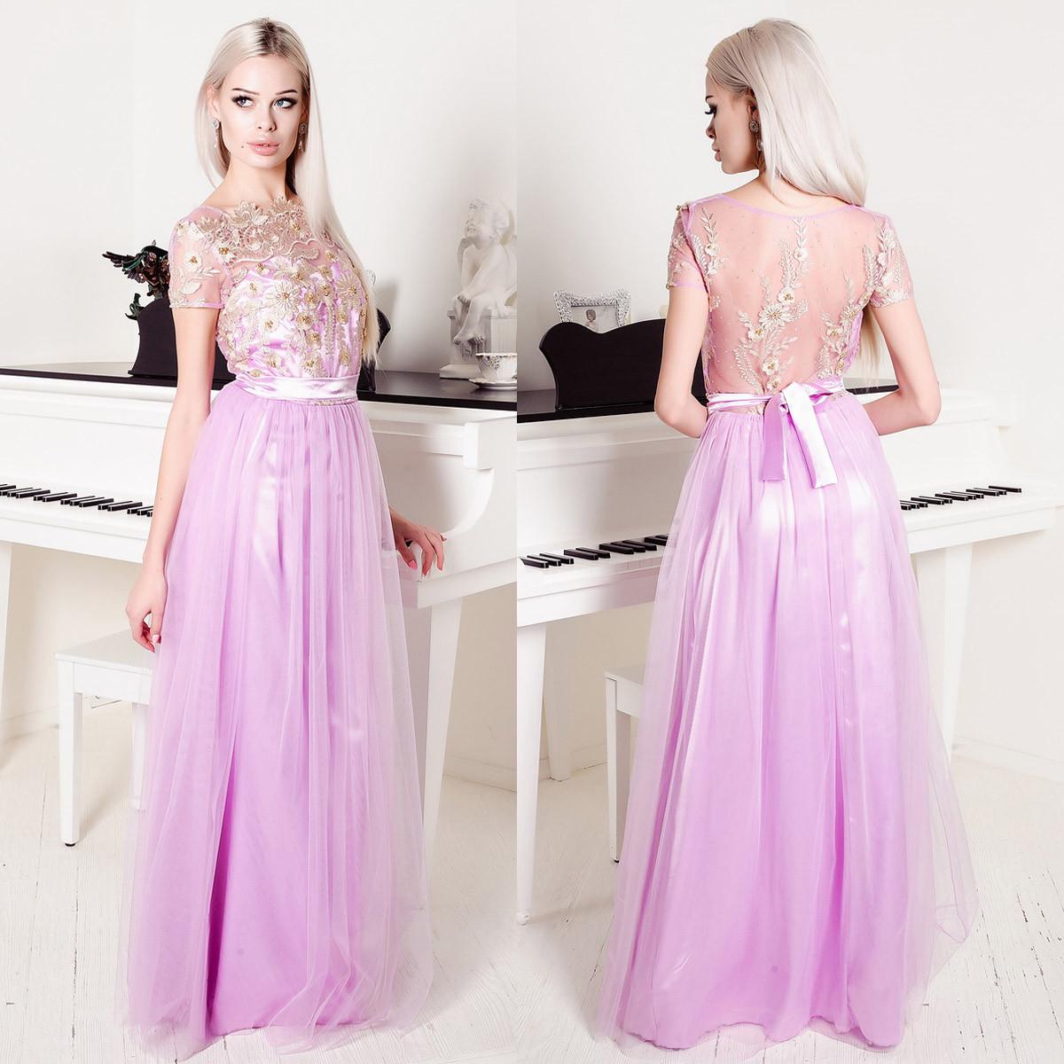 037ca2e9f1384a7 Выпускное пышное сиреневое платье в пол