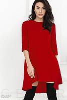 Короткое платье асимметрия. Цвет красный.