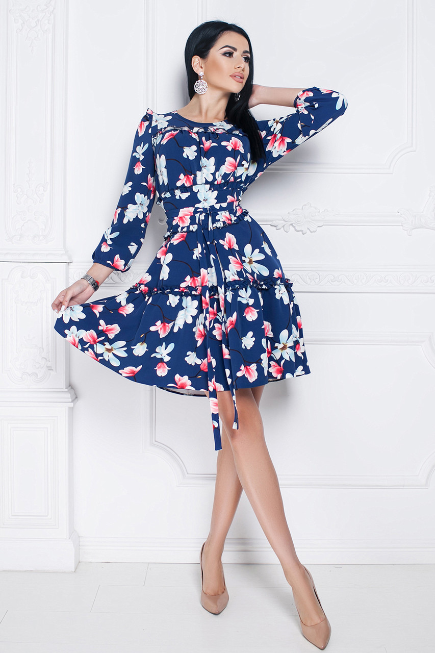 Платье Джульетта цветочный принт темно-синее