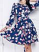 Платье Джульетта цветочный принт темно-синее, фото 2
