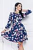 Платье Джульетта цветочный принт темно-синее, фото 3