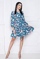 Платье Джульетта цветочный принт в цвете джинс, фото 1