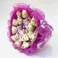 Букет из мягких игрушек Мишки 15 белые в фиолете