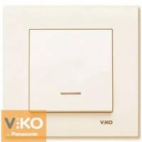VIKO KARRE Выключатель одно клавишный кремовый с подсветкой