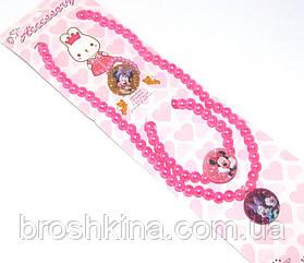 Набор детской бижутерии Микки Маус 3 предмета ярко-розовый