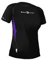 Женская футболка для плавания AquaLung Loose Fit; короткий рукав; фиолетовые вставки; размер M