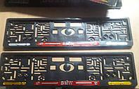 Рамка под номер с отражателями (катафотами) с металлической надписью БМВ BMW , Мольберг, Рамка Черная, фото 1