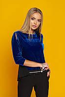 """Нарядная женская блузка из велюра с завязками на спинке и разрезами на рукавах """"Жаклин"""" (электрик)"""