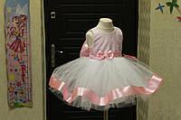 Нежнейшее нарядное платье на девочку с пышным низом и бантиком на поясе