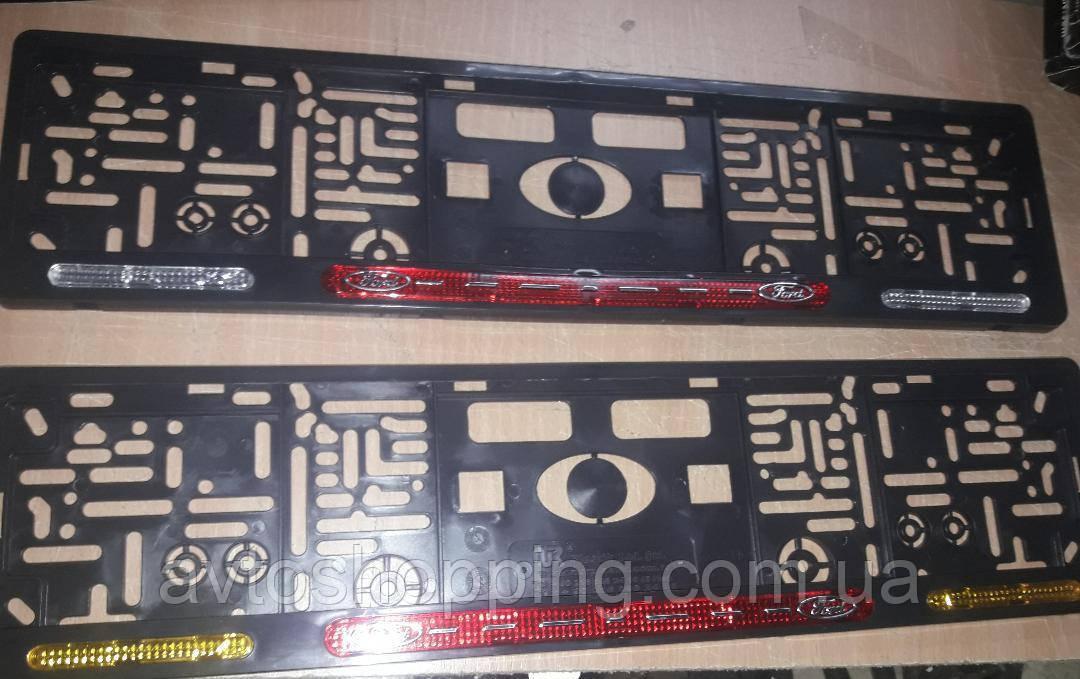 Рамка под номер с отражателями (катафотами) с металлической надписью Форд Ford , Мольберг, Рамка Черная