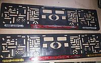 Рамка под номер с отражателями (катафотами) с металлической надписью Форд Ford , Мольберг, Рамка Черная, фото 1