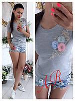 Стильная женская футболка Букет