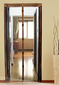 Антимоскитная сетка штора на дверь на магнитах Magic mesh без рисунка (220х110). Серая