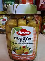 Оливки фаршированные красным перцем (Biberli yesil zeytin)
