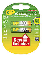 Аккумуляторы GP Batteries Rechargeable 1000 Series 100AAAHC AAA HR03 Ni-MH 950mAh 1.2V 2шт Double Blister