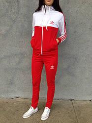 Женский спортивный костюм Adidas красного и белого цвета