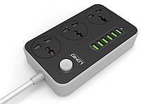 Удлинитель Сетевой LDNIO 3 универсальных розетки 6 USB разъема