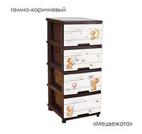 Комод ТМ Алеана на 4 ящика с декором 39,5*46,5*95,5 (т.коричневый, Медведи)