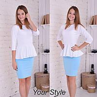 Стильный костюм с юбкой. Белый+Голубой