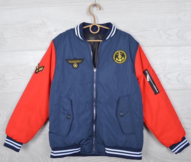 """Куртка-ветровка детская """"Якорь"""" для мальчиков. 4-9 лет (104-134 см). Темно-синяя+оранжевый. Оптом."""