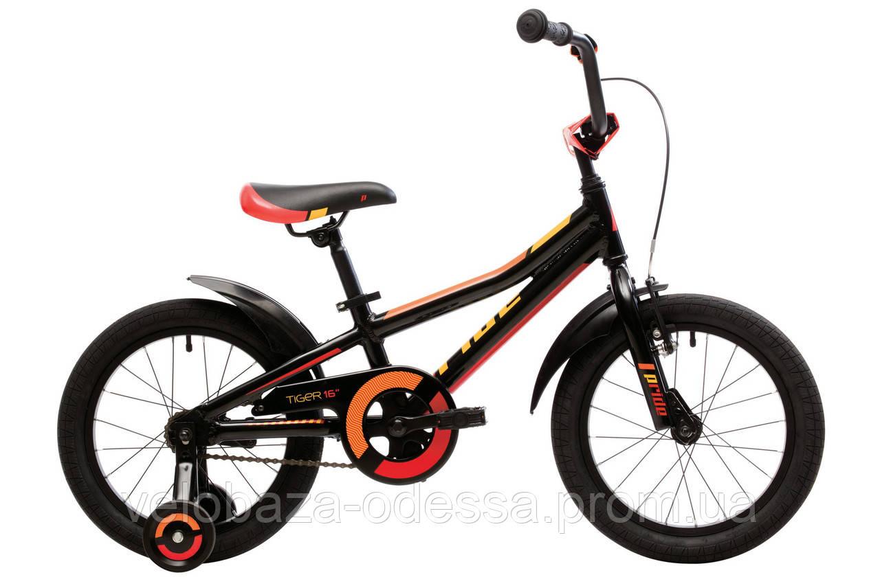 """Велосипед 16"""" Pride Tiger черный/красный/жёлтый 2018"""