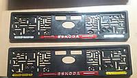 Рамка под номер с отражателями (катафотами) с металлической надписью Skoda (Шкода) , Мольберг, Рамка Черная, фото 1