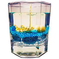 Гелевая свеча в граненном стакане - Синяя