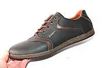 Мужские туфли комфорт, кожаные, черный/коричневый, Л961