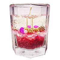 Гелевая свеча в граненном стакане - Розовая