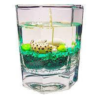 Гелевая свеча в граненном стакане - Зеленая