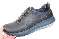Мужские туфли спорт, кожа натуральная, синие, Л967