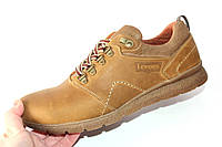 Мужские туфли спорт, кожа натуральная, олива, Л967