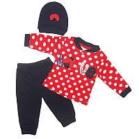 Костюм для девочки 62-74(3-9м) кофта+штаны,шапка, арт.1028