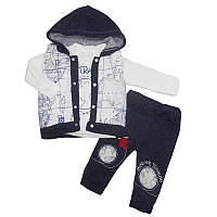 Костюм для мальчика 68-80(6-12м) кофта+штаны+утепл.жилет арт.412