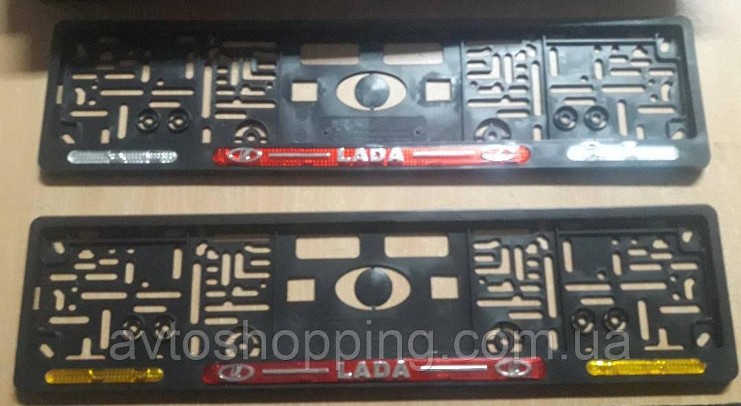 Рамка под номер с отражателями (катафотами) с металлической надписью ВАЗ (ЛАДА), Мольберг, Рамка Черная