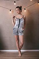 Женский комбинезон для дома и сна с карманами, декорированный кружевом