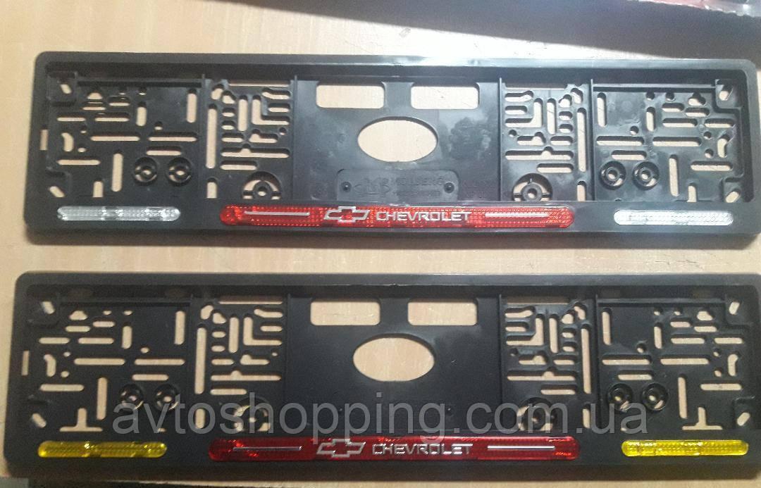 Рамка под номер с отражателями (катафотами) с металлической надписью Chevrolet Шевроле Мольберг, Рамка Черная