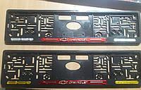 Рамка под номер с отражателями (катафотами) с металлической надписью Chevrolet Шевроле Мольберг, Рамка Черная, фото 1