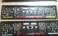 Рамка под номер с отражателями (катафотами) с металлической надписью Mazda Мольберг, Рамка Черная