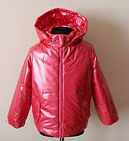 Детская куртка для девочек красного цвета деми, фото 1