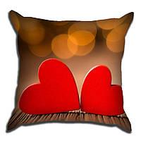 Декоративная подушка 2 сердца 40х40см