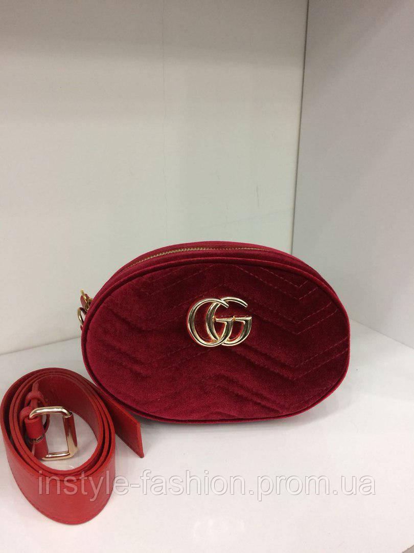Сумка-клатч на пояс Gucci Гуччи на цепочке ткань велюр красная