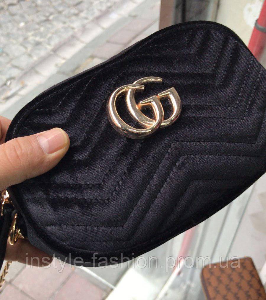 3e9b7bf16fea Сумка-клатч на пояс Gucci Гуччи на цепочке ткань велюр черная, ...