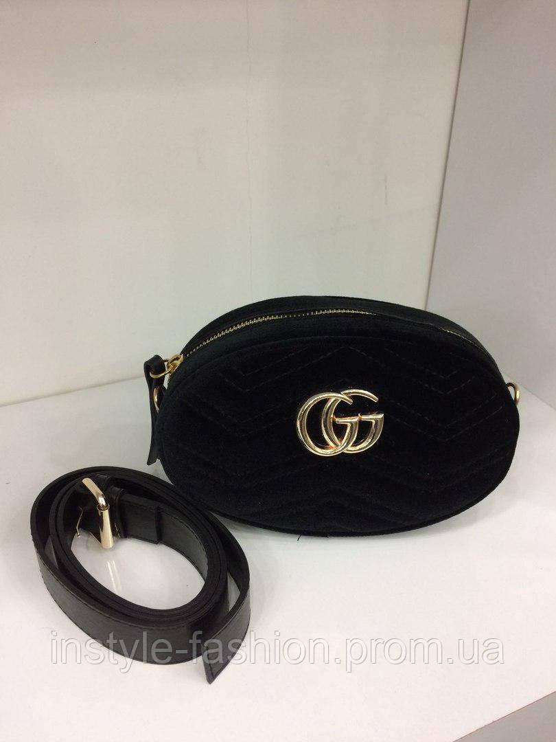 f1e68a133a3f Сумка-клатч на пояс Gucci Гуччи на цепочке ткань велюр черная ...