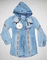 Джинсовая модная рубашка для девочек от 3 до 7 лет.