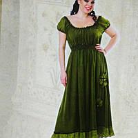 Платье зеленое в пол с кружевом , вываренный мененный хлопок размеры 48-54