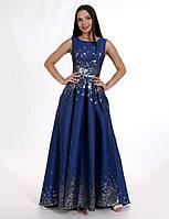 Нежное нарядное платье в пол из атласного жаккарда