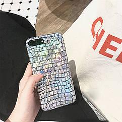 Чехол накладка на  iPhone 6/6s крокодил  лазерный