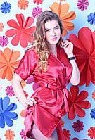 Малиновый домашний халат на запах размер 40,42,44,46,48